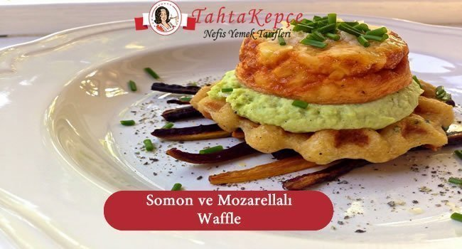 Somon ve Mozarellalı Waffle yapılışı