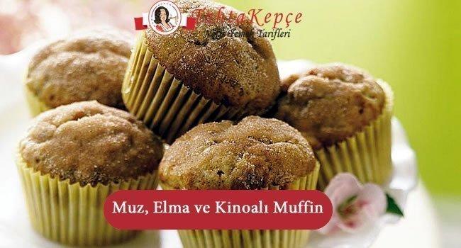 Muzlu ve Elmalı Kinoalı Muffin